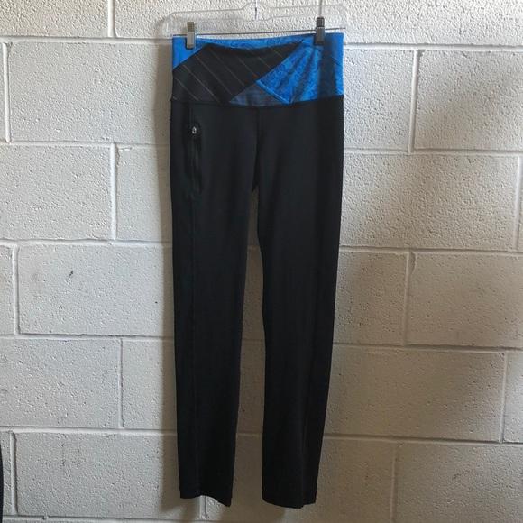 lululemon athletica Pants - Lululemon black & blue slim leg pant sz 4 61117